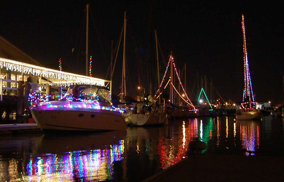 Boats line up for the lighted boat parade at Vallejo Yacht Club on Dec. 3. The lighted boat parade at Vallejo Yacht Club helped inspire a photo contest at Latitude 38 Magazine. Photo: LaDonna Bubak / Latitude 38