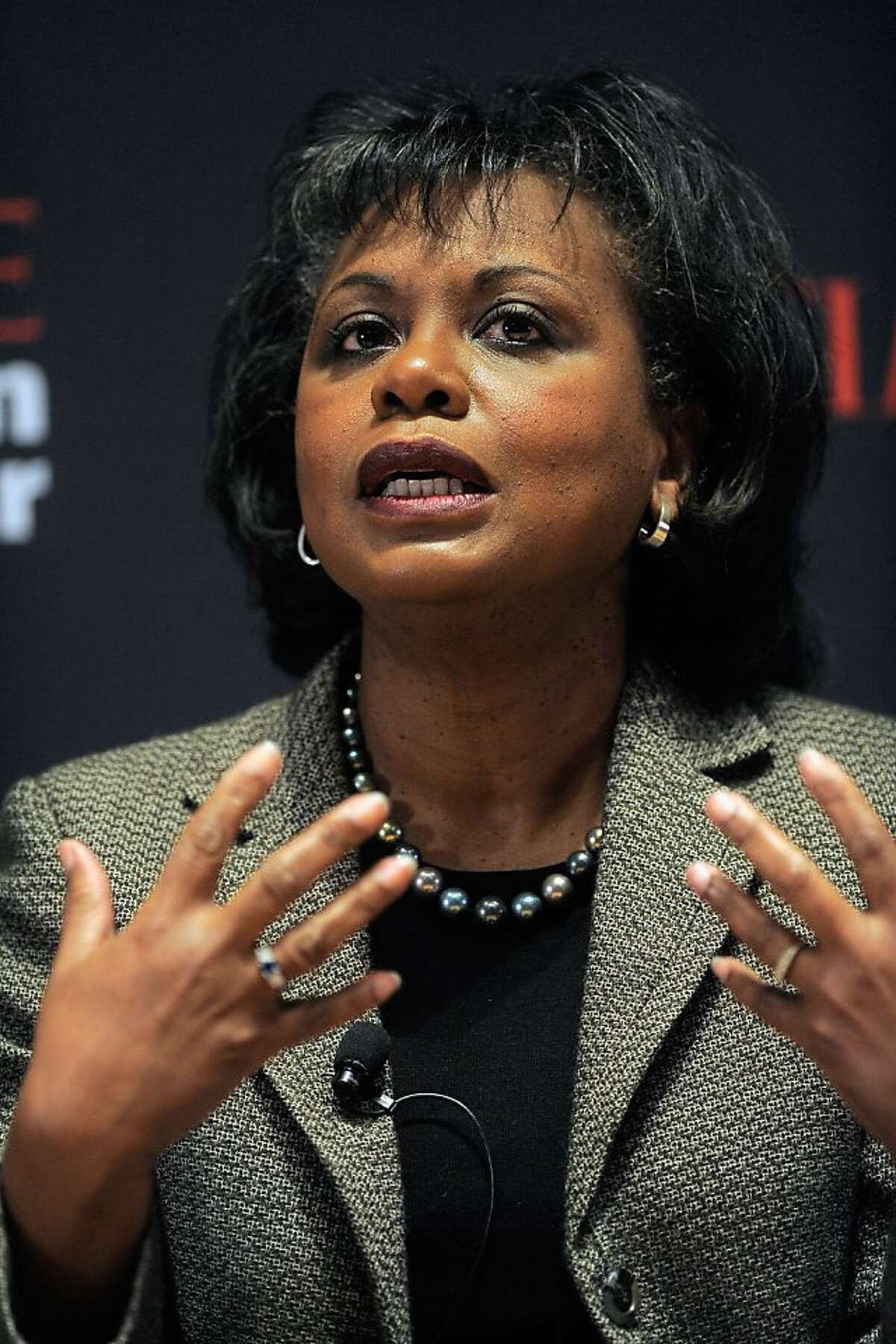 NEW YORK, NY - NOVEMBER 08: Professor Anita Hill speaks during the TIME Person of the Year panal discussion duing the TIME Person of the Year Lunch at Time Life Building on November 8, 2011 in New York City. NEW YORK, NY - NOVEMBER 08: Professor Anita Hill speaks during the TIME Person of the Year panal discussion duing the TIME Person of the Year Lunch at Time Life Building on November 8, 2011 in New York City. (Photo by Jemal Countess/Getty Images for Time)
