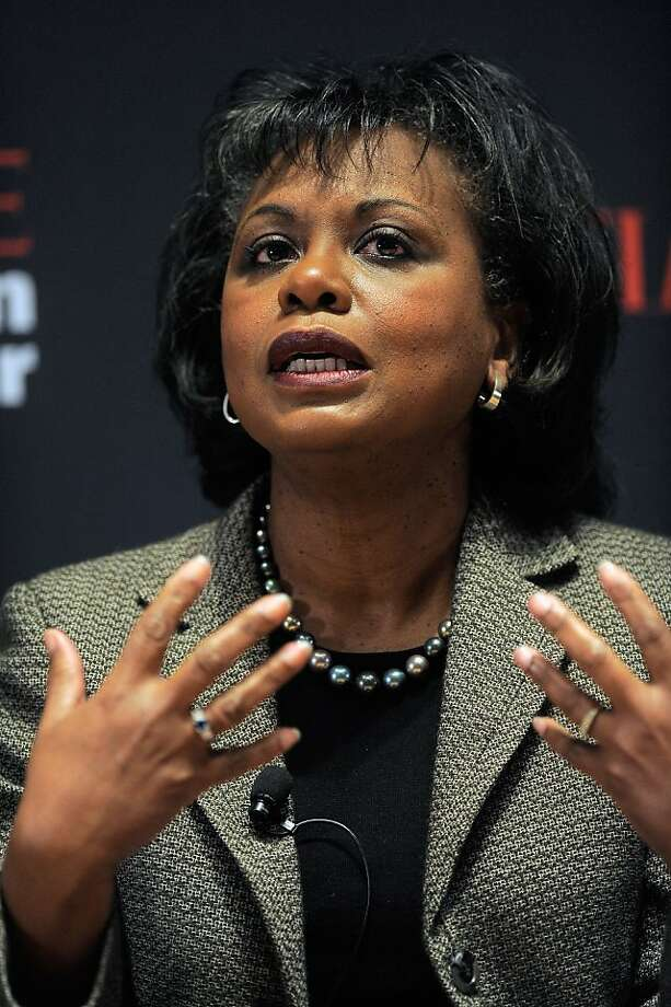 NEW YORK, NY - NOVEMBER 08: Professor Anita Hill speaks during the TIME Person of the Year panal discussion duing the TIME Person of the Year Lunch at Time Life Building on November 8, 2011 in New York City. NEW YORK, NY - NOVEMBER 08:  Professor Anita Hill speaks during the TIME Person of the Year panal discussion duing the TIME Person of the Year Lunch at Time Life Building on November 8, 2011 in New York City.  (Photo by Jemal Countess/Getty Images for Time) Photo: Jemal Countess, Getty Images For Time