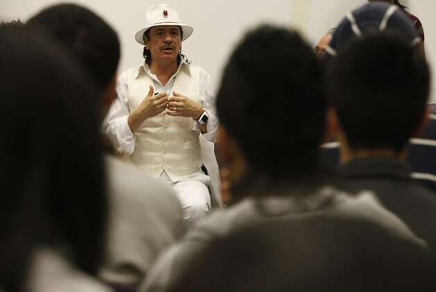 Carlos Santana talks to a students at Mission High school in San Francisco, Calif. on Monday, October 24, 2011. Photo: Lea Suzuki, The Chronicle