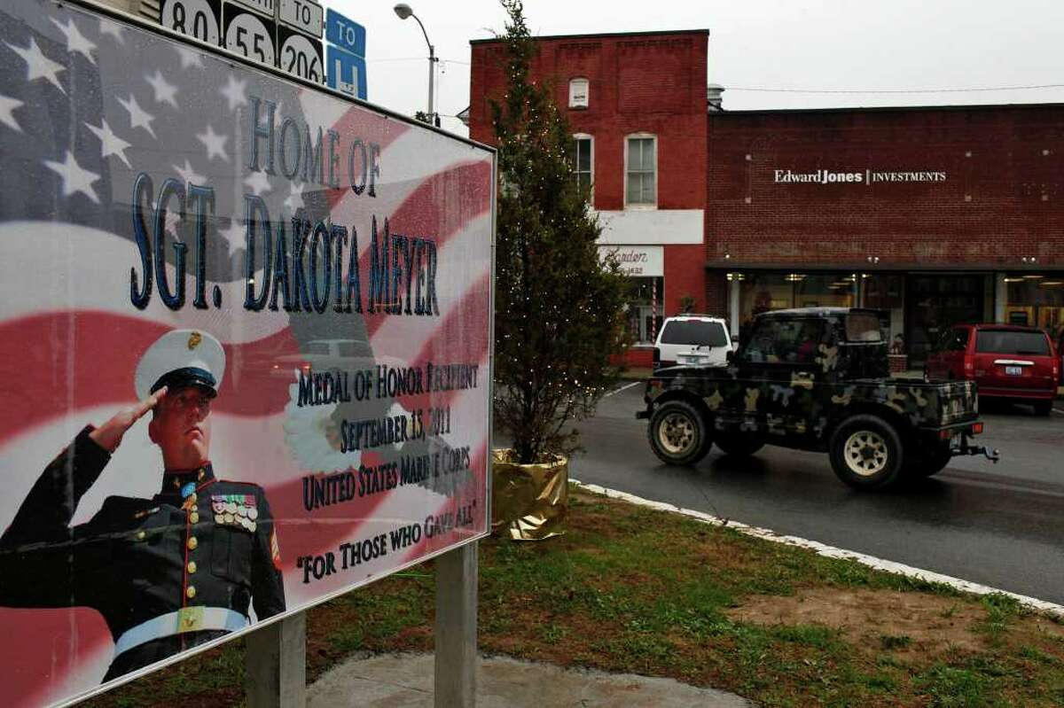 The regard that people in Columbia, Ky., have for native son Dakota Meyer is evidenced by this sign in the town square.