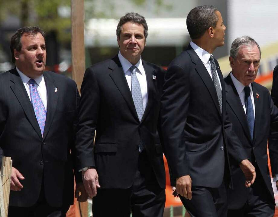 New Jersey Gov. Chris Christie and New York Gov. Andrew Cuomo, Connecticut Gov. Dan Malloy's regional and political rivals, join U.S. President Barack Obama and New York City Mayor Michael Bloomberg attend a wreath laying ceremony on May 5, 2011 in New York City at Ground Zero, after Osama bin Laden was killed.   (Photo by Mario Tama/Getty Images) Photo: Mario Tama, Getty Images / 2011 Getty Images
