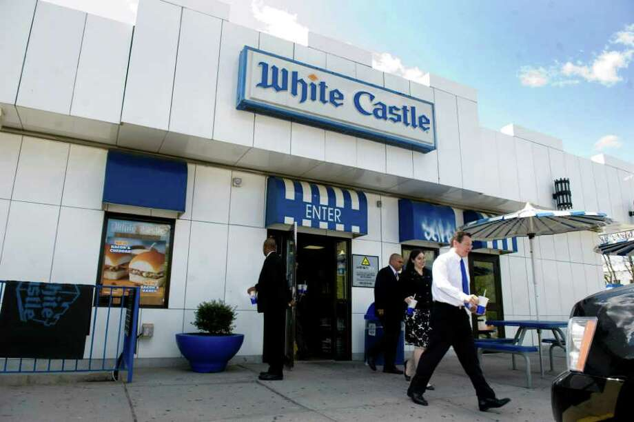 Gov. Dan Malloy leaves White Castle in the Bronx after lunch on his way to back to Hartford from Ground Zero in New York City on May 5, 2011. White Castle was a favorite stop for Malloy when he was returning from Rugby matches at Randalls Island. Photo: Kathleen O'Rourke / Stamford Advocate