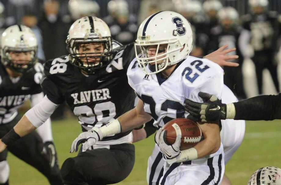 Highlights from CIAC Class LL boys football championship action between Staples and Xavier in East Haven, Conn. on Saturday December 10, 2011. Staples' #22 Joey Zelkowitz. Photo: Christian Abraham / www.connpost.com