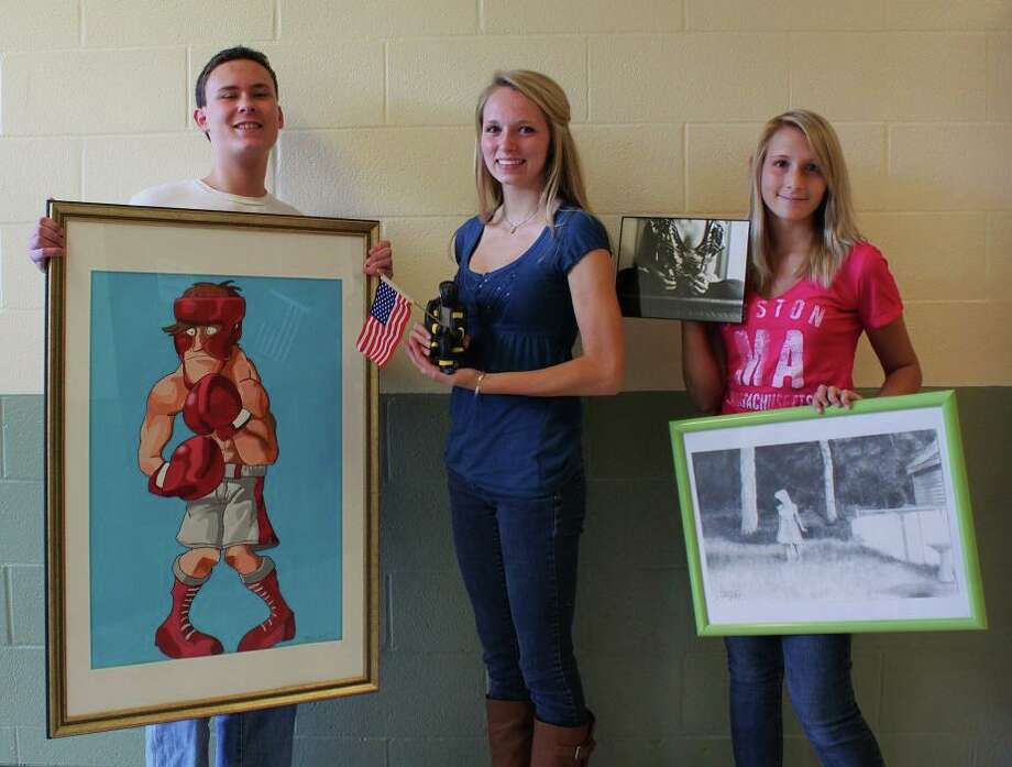 The winners of the Schalmont High School Beautification Club People?s Choice Art Awards are: Tyler Cronk (painting), Alyssa Alex (sculpture) and Breena Sperry (drawing and photography). Submitted photo