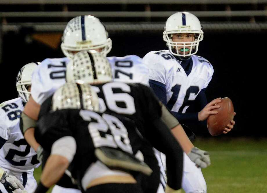 Highlights from CIAC Class LL boys football championship action between Staples and Xavier in East Haven, Conn. on Saturday December 10, 2011. Staples QB Jack Massie. Photo: Christian Abraham / www.connpost.com