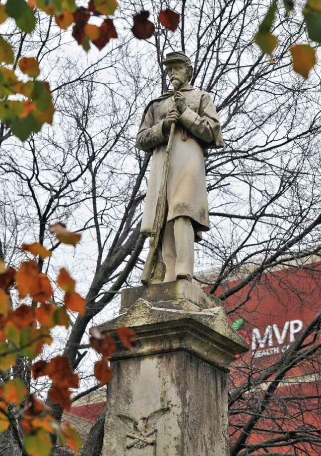 Civil War Monument in the State Street park across from the Schenectady County Court House Wednesday Nov. 23, 2011.   (John Carl D'Annibale / Times Union) Photo: John Carl D'Annibale / 00015508A