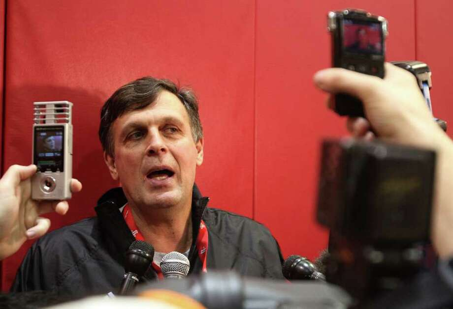 12/10/11: Houston Rocket head coach Kevin McHale talks to reporters after practice inside the Toyota Center during the Rockets training camp In Houston, Texas. Photo: Thomas B. Shea / © 2011 Thomas B. Shea