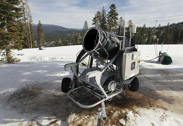 A snowmaking machine is positioned near Northstar California Resort's new Zephyr Lodge in Truckee, Calif. on Saturday, Dec. 10, 2011. Extensive snowmaking equipment has allowed Northstar to open 19 of its 97 runs despite a shortage of natural snow. Photo: Paul Chinn, The Chronicle