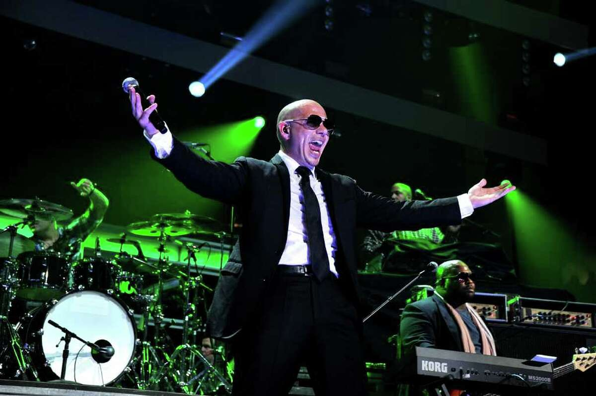 NEW YORK, NY - DECEMBER 09: Singer Pitbull performs onstage during Z100's Jingle Ball 2011, presented by Aeropostale at Madison Square Garden on December 9, 2011 in New York City. (Photo by Stephen Lovekin/Getty Images)