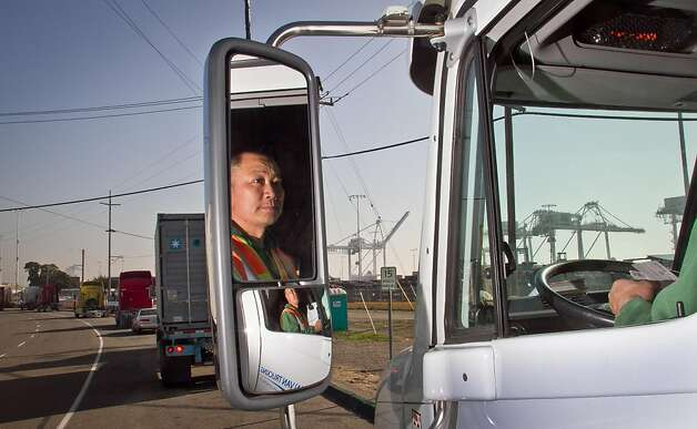 Truck driver Hai Ngo of San Leandro in his truck at the Port of Oakland in Oakland, Calif., on Friday, December 9, 2011. Story about how Occupy Oakland plans to shut down the Port of Oakland on December 12th. Photo: John Storey, Special To The Chronicle