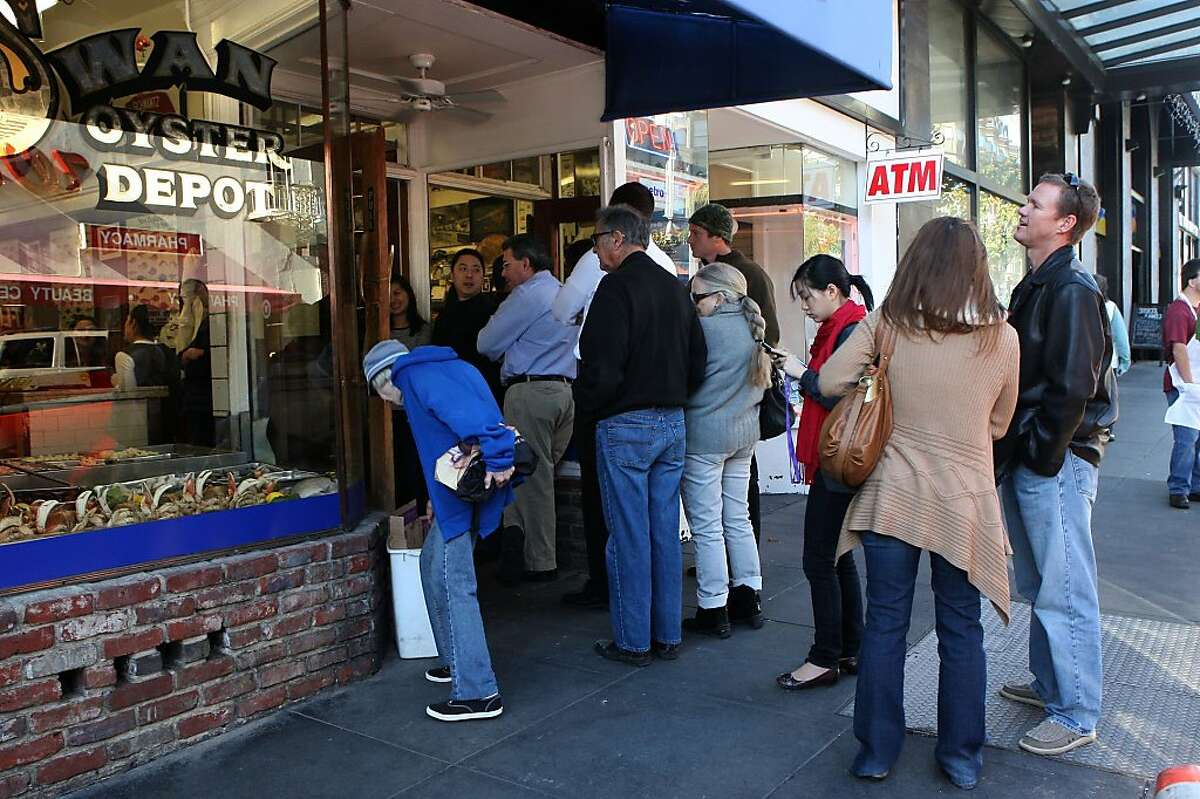 The lunch line forming at Swan Oyster Depot in San Francisco, Calif., on Thursday, December 1, 2011.