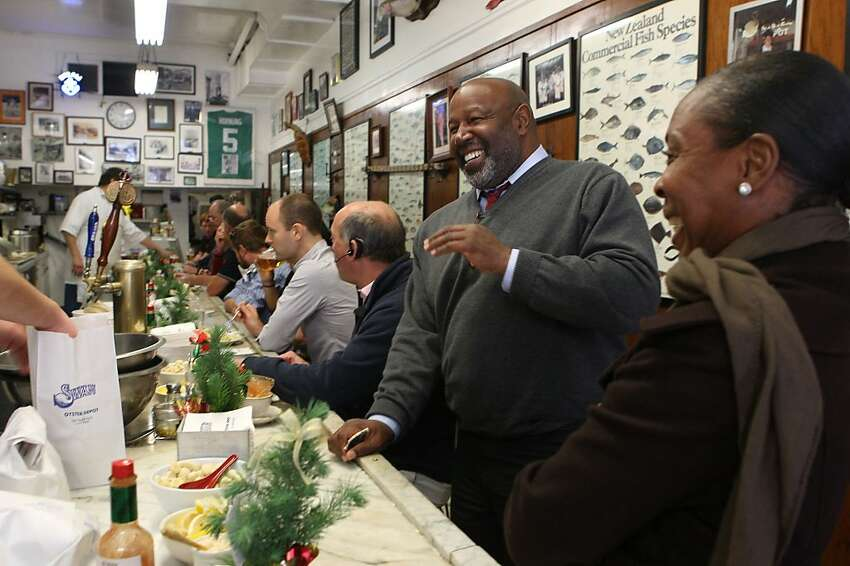 Andre McDaniel ordering a combo salad at Swan Oyster Depot in San Francisco, Calif., on Thursday, December 1, 2011.