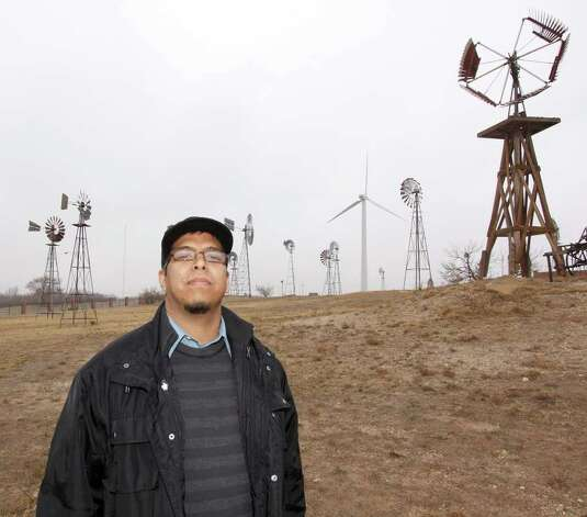 Antonio Lara stands at the American Wind Power Center and Museum in Lubbock. Lara is studying wind energy at Texas Tech, and he is one of the first students to enroll in the university's undergraduate program in wind energy. Photo: DARREL  THOMAS
