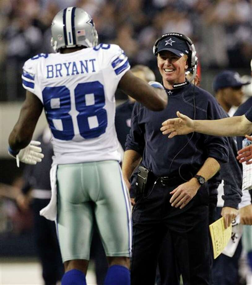 Cowboys coach Jason Garrett (right) said it was too soon to discuss whether Dez Bryant (left) would be suspended. Photo: Tony Gutierrez, Associated Press / AP