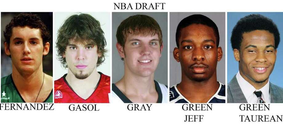 These recent handouts from their respective schools and teams show NBA Draft basketball prospects from left; Rudy Fernandez, Joventut; Marc Gasol, Akasvayu Girona; Aaron Gray, Pittsburgh; Jeff Green, Georgetown; and Taurean Green, Florida. (AP Photo)