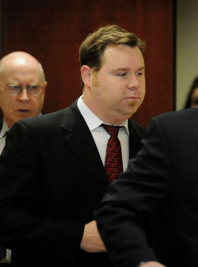 John J. Dennehey, a deacon at the First Congregational Church was arraigned in front of Judge Thomas Breslin in Albany County Court in the Albany County Judicial Center in Albany, N.Y. Dec. 12, 2011.  Dennehey was charged with allegedly engaging in sexual conduct with two teenage boys.    (Skip Dickstein / Times Union) Photo: SKIP DICKSTEIN / 2011