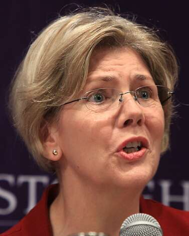 Democratic candidate for the U.S. Senate Elizabeth Warren participates in a forum at Stonehill College in Easton, Mass. on Tuesday, Dec. 6, 2011. Five Democratic U.S. Senate hopefuls jousted on everything from the Occupy Wall Street movement to the need to hold accountable those who brought the country's economy to near collapse as they sparred for the chance to challenge incumbent Republican U.S. Sen. Scott Brown. (AP Photo/The Quincy Patriot Ledger, Gary Higgins)  BOSTON HERALD OUT;  BOSTON GLOBE OUT; QUINCY OUT Photo: Gary Higgins, AP