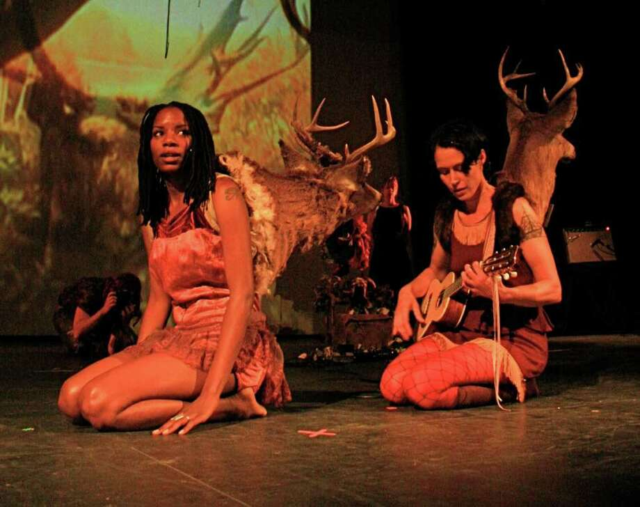 "C. Ryder Cooley, right, in her performance cabaret ""Xmalia."" Photo: Contributed Photo"