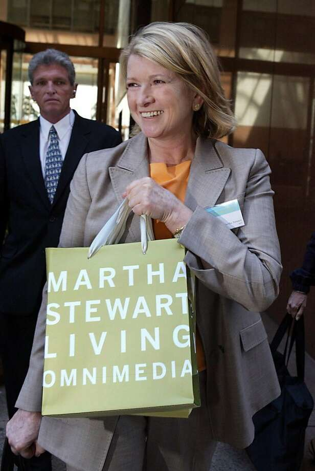FILE - In this June 22, 2004 file photo, Martha Stewart leaves the  Martha Stewart Living Omnimedia Inc. annual shareholders' meeting, in New York. Beginning in February 2013, customers will be able to visit distinct Martha Stewart retail stores inside the majority of jcpenney department stores. These Martha Stewart stores are intended to be destinations where consumers can experience an engaging and inspiring environment and buy a variety of affordable, high-quality home and lifestyle merchandise designed and curated by Martha Stewart and her team. (AP Photo/Mary Altaffer, File)  Ran on: 12-08-2011 J.C. Penney acquired a 17 percent stake in Martha Stewart Living Omnimedia Inc. Photo: Mary Altaffer, AP