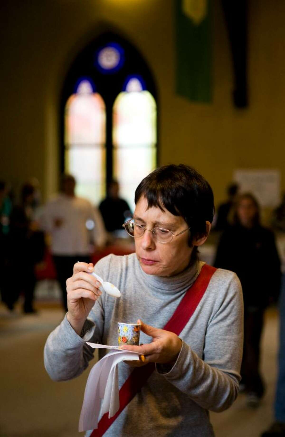 Leslie Weinberg of Stamford samples the chili at the 2nd annual Pro-Am Charity Chili cook-off at the Unitarian Universalist Society.
