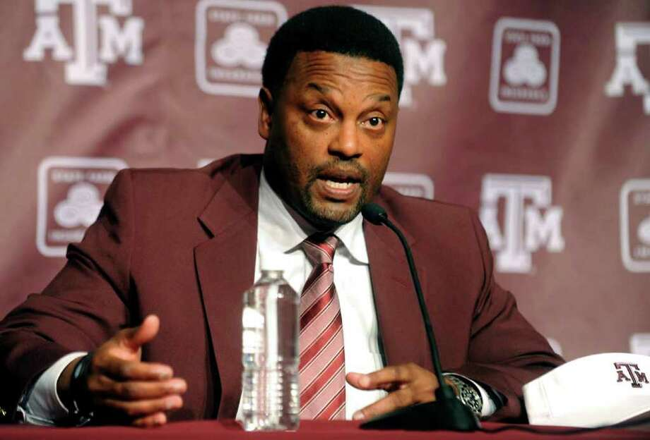 Newly-appointed Texas A&M head coach Kevin Sumlin speaks during a news conference officially introducing him as the NCAA college football team's new coach on Monday, Dec. 12, 2011, in College Station, Texas. Sumlin was hired to replace Mike Sherman who was fired two days earlier after a disappointing 6-6 season. (AP Photo/Bryan-College Station Eagle, Dave McDermand) Photo: Dave McDermand, Associated Press / Bryan-College Station Eagle