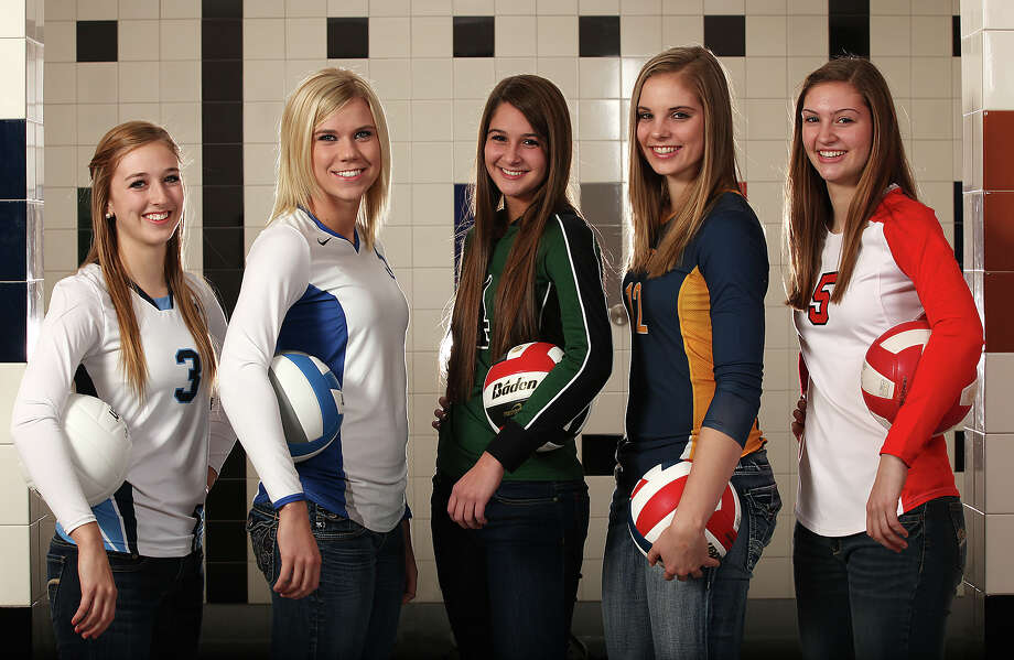 The All-Area Volleyball Super Team Volleyball Team at Heroes Stadium, Wednesday, Dec. 7, 2011. From left, Jessica Teel (Johnson), Angela Lowak (New Braunfels), Morgan Reed (Reagan), Jordan Kotara (Poth) and Rafae Strobos (New Braunfels Canyon). JERRY LARA/glara@express-news.net Photo: JERRY LARA, San Antonio Express-News / SAN ANTONIO EXPRESS-NEWS