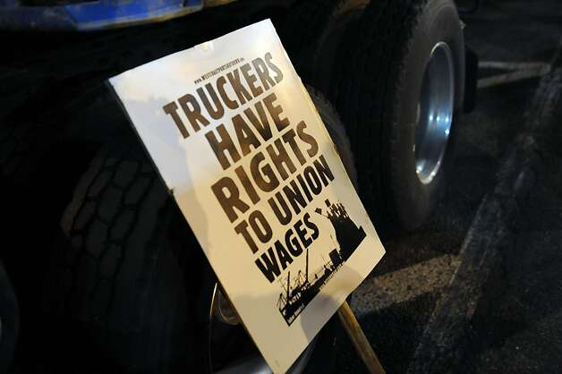 A sign is seen at the Port of Oakland on Monday, Dec. 12, 2011, in Oakland, Calif. Photo: Susana Bates, Special To The Chronicle