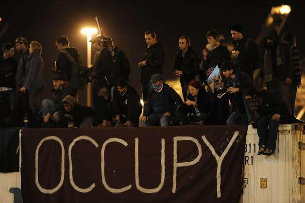 Protesters are seen on top of a truck at the Port of Oakland after shutting down operations on Monday, Dec. 12, 2011, in Oakland, Calif. Photo: Susana Bates, Special To The Chronicle