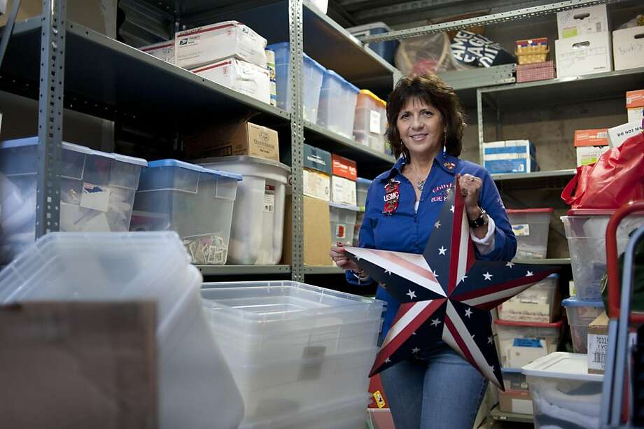 Anna Vanegas, President of South Bay Blue Star Moms, in one of their storage facilities in San Jose, Calif., on Dec. 12, 2011.  The organization lost over $3000 in the Lucky's credit card scam, but has seen a swell in donations when their story went public. Photo: Thomas Webb, Special To The Chronicle