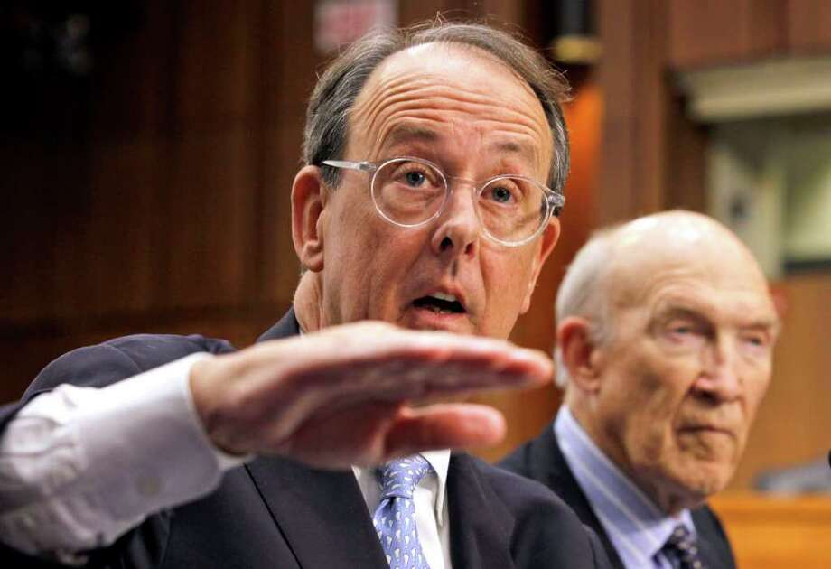 Debt Commission co-chairmen Erskine Bowles, left, and former Wyoming Sen. Alan Simpson, speak to the media after a meeting of the commission on Capitol Hill in Washington, Wednesday, Dec. 1, 2010. Photo: AP