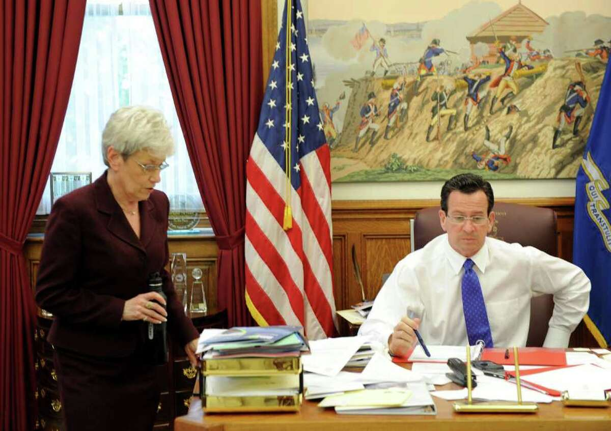 Lt. Gov. Nancy Wyman with Gov. Dan Malloy in his office at the state Capitol in Hartford, Conn. on Wednesday May 18, 2011.