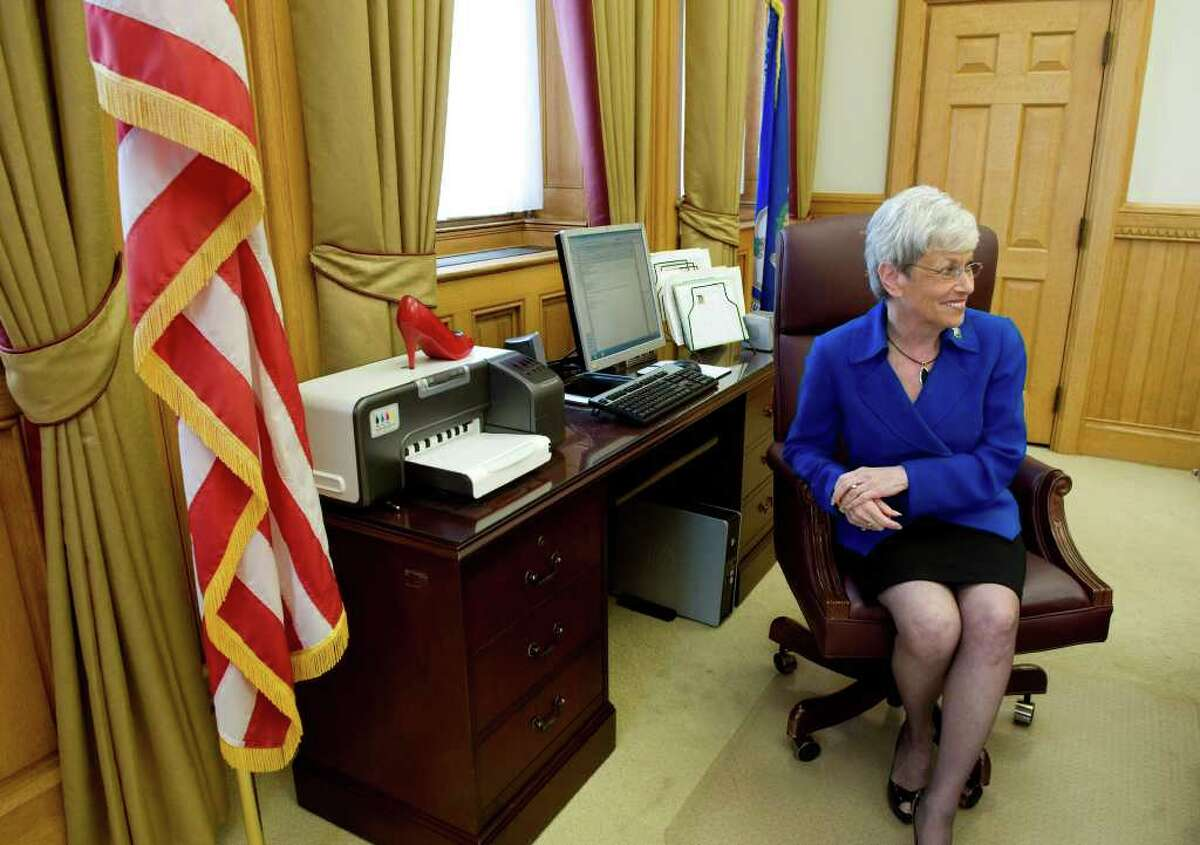 Lt. Gov. Nancy Wyman works in her office at the state Capitol in Hartford, Conn. on Thursday May 19, 2011.