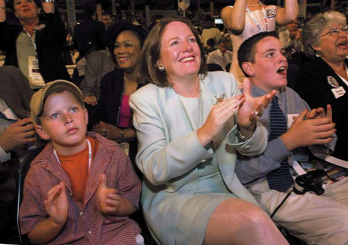 Cathy Malloy and sons Sam and Ben, applaud as Dan Malloy, then Mayor of Stamford, Conn., speaks to the delegation at the Democratic Convention, Staples Center in Los Angeles CA. in August 2000.