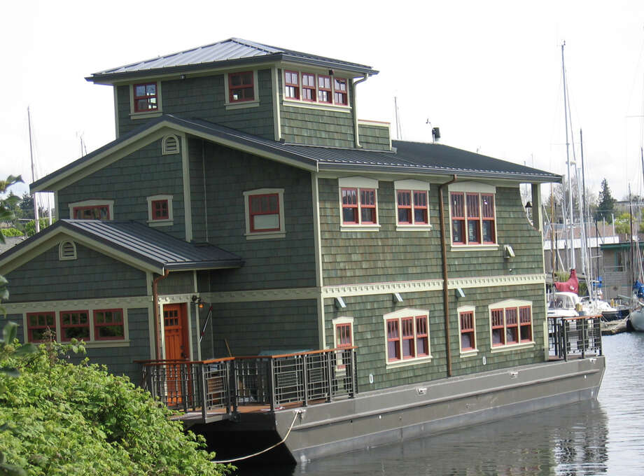 Here's another example of a questionable houseboat. The city of Seattle says this Lake Union houseboat is likely 