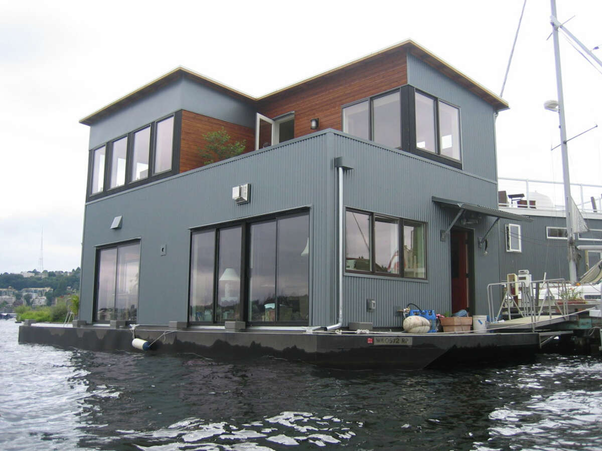 The city of Seattle says this large Lake Union houseboat near Northlake Way is likely illegal, because it resembles a floating home, but doesn't follow floating-home codes on size and environmental practices. The owner has said the house is a