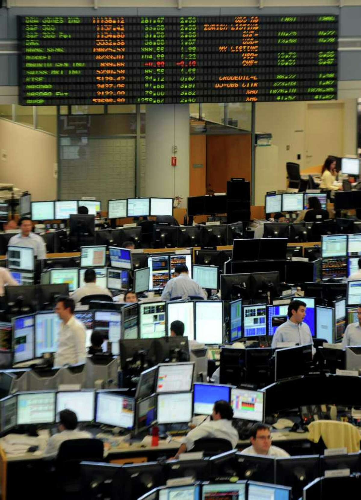 The trading room floor in the UBS building in Stamford on Tuesday, August 23, 2011. UBS has committed to staying in Stamford for five years.
