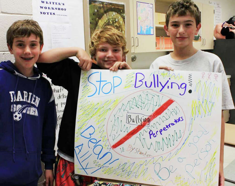 Keenan Warble, Peter Marren and Joey McPartland make their anti-bullying message loud and clear. Photo: Contributed Photo
