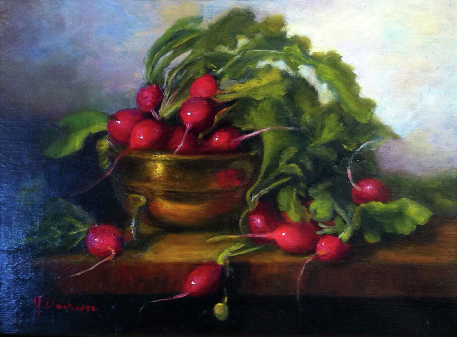 WINDHAM FINE ARTS ?Lavish Radishes? by Mireille Duchesne (oil on canvas) is among the works in ?Beholden to Beauty? at Windham Fine Arts, Windham, Saturday through Jan. 9. There will be a reception 3-5 p.m. Saturday.