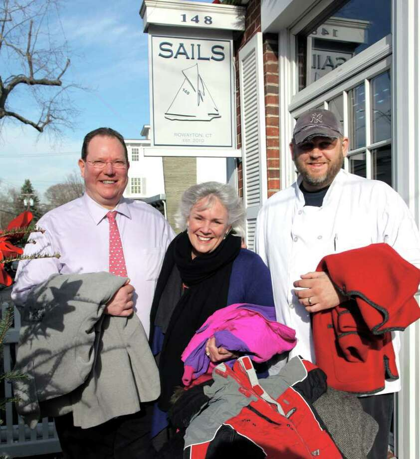 Terry McSpedon, general manager of SAILS; Ceci Maher, executive director of Person-to-Person of Darien; and Nathan Kramer, executive chef of SAILS. Photo: Contributed Photo