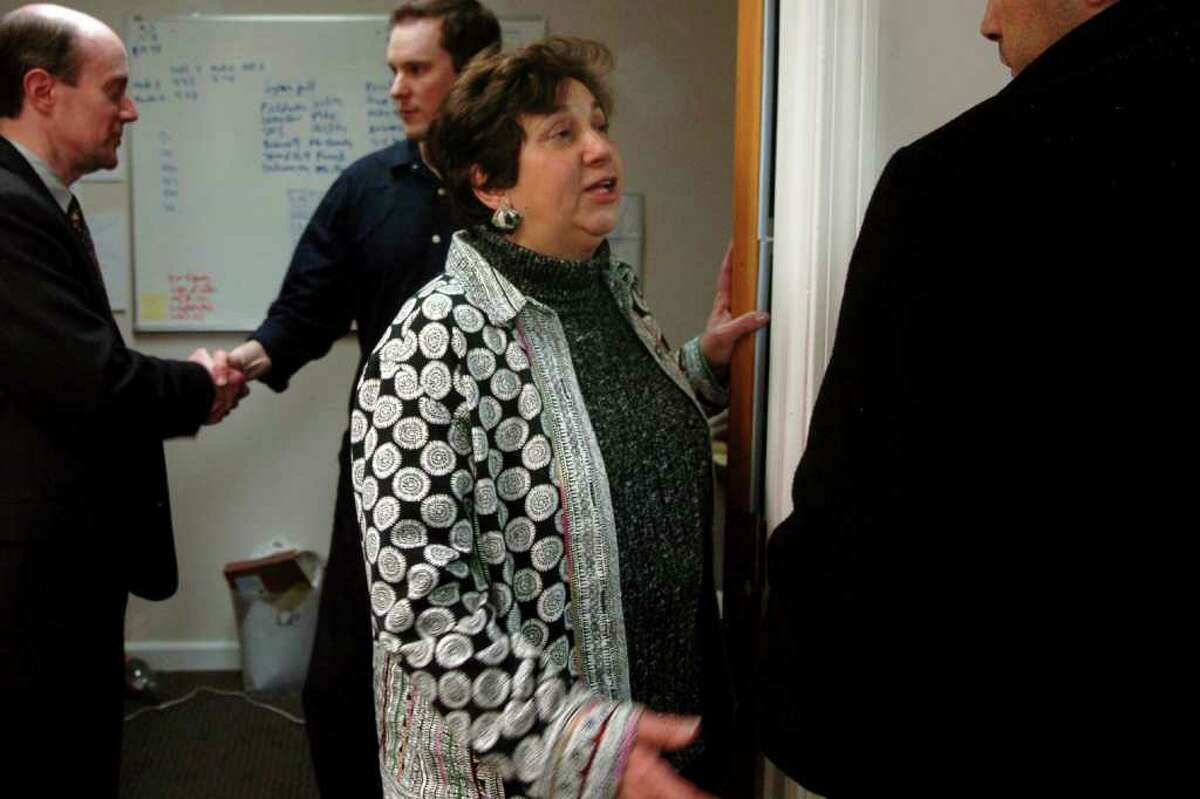 Nancy DiNardo, Chairwoman of the Connecticut Democratic Party, seen here at Stratford's Democratic headquarters following a special election for a state House of Representative seat March 2nd, 2010. DiNardo and the state party depended on Malloy to raise funds for their get-out-the-vote operations before local elections in November.