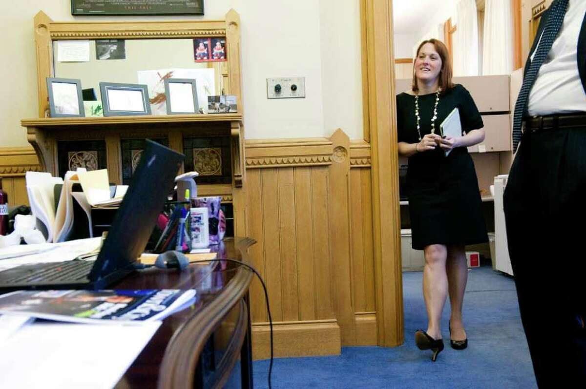 Gov. Dan Malloy's director of communications Colleen Flanagan in Senior Advisor Roy Occhiogrosso's office at the state Capitol in Hartford, Conn., October 25, 2011.