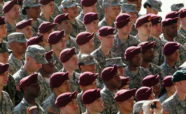 Troops listen as President Barack Obama speaks during a visit to Fort Bragg, N.C., on Wednesday. Photo: AP