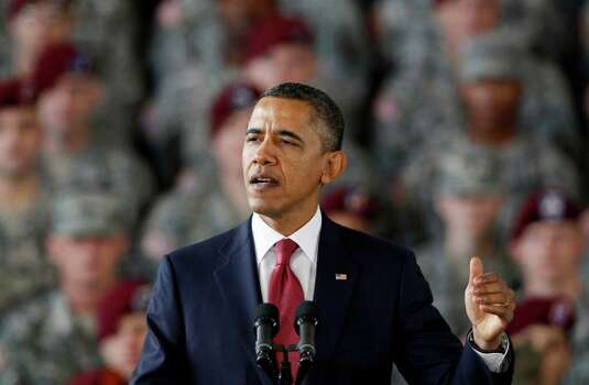 President Barack Obama speaks to troops at Fort Bragg, N.C., on Wednesday. Photo: AP