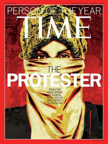 "This image released by Time Magazine shows the Person of the Year issue featuring ""The Protester."" The magazine on Wednesday cited dissent across the Middle East that has spread to Europe and the United States, and says these protesters are reshaping global politics. Photo: AP"