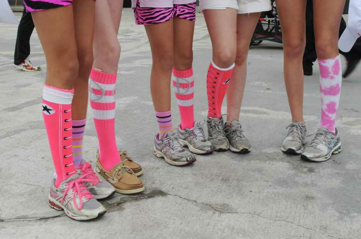 Different socks at the Breast Cancer Alliance sixth annual Hands Across the Avenue on Sunday, May 22, 2011.