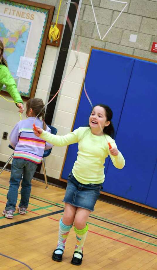 Ellie Capalbo, a 4th grader at Holland Hill Elementary School, enjoys the Jump Rope Club, which meets for 15 minutes prior to school on Tuesdays and Thursdays (December through March). Photo: Kirk Lang