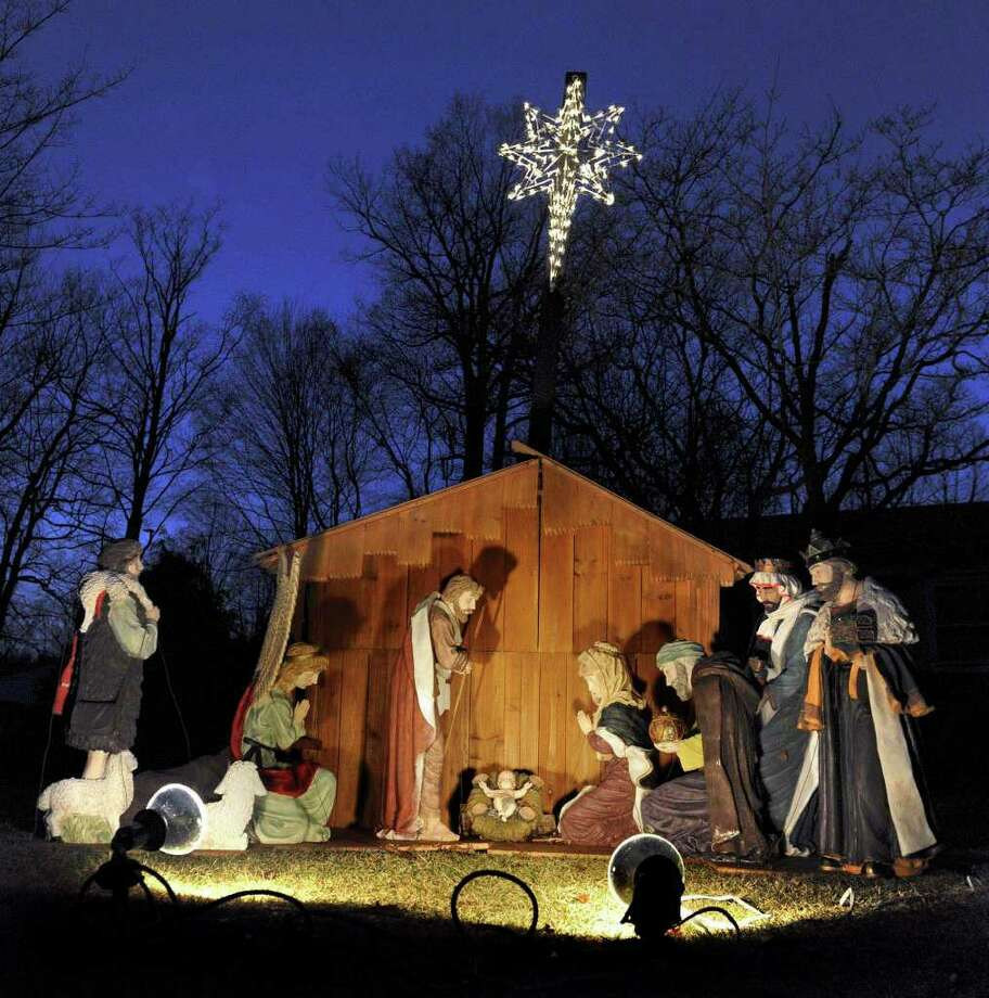This beautiful creche stands out in the night sky at the home of pastors Barry and Sheila Fredericks on Fox Den Road in Bethel every Christmas. Photo: Carol Kaliff