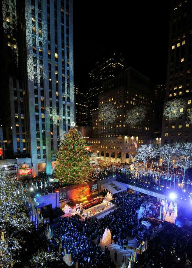 The 74-foot-tall Rockefeller Center Christmas Tree is lit using 30,000 energy efficient LED lights. Photo: Henny Ray Abrams / FR151332 AP