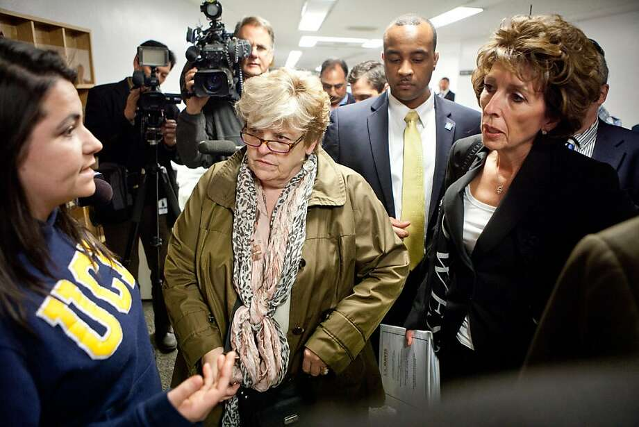 University of California, Davis student Jerika Heinze, left confronts chancellor Linda Katehi, right, outside a Joint Informational Hearing on the UC Davis pepper spray incident at the State Capitol in Sacramento, CA, December 14, 2011. Photo: Max Whittaker, Special To The Chronicle